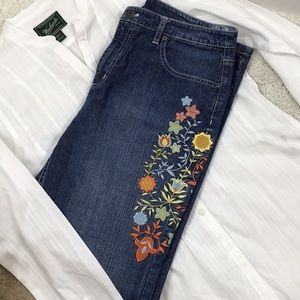 Talbots embroidered stretch jeans